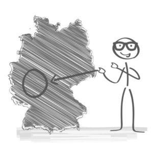 Deutschlandkarte mit eingezeichnetem Servicegebiet